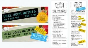 Ontwerp flyer voor de eerste twee edities van Veel voor Weinig
