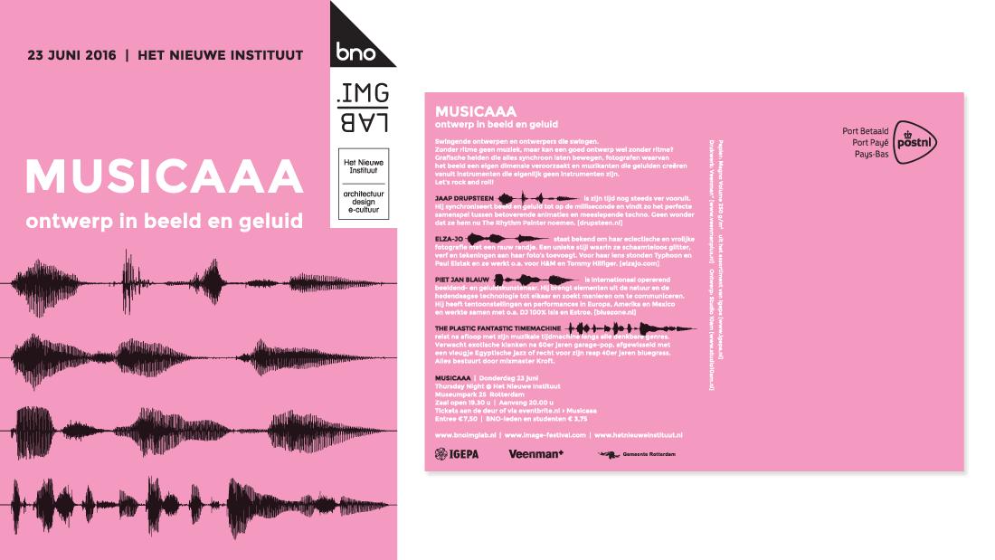 flyerontwerp voor de BNO-avond Musicaaa