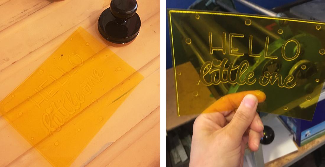workshop letterpress - uitwassen emulsie en resultaat ontwerp op polymeerplaat